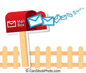 The abstract of Vector red mailbox with express mails