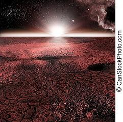 The abstract red landscape of Mars planet. Looks like cold...
