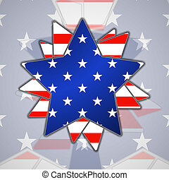 The abstract star with american flag