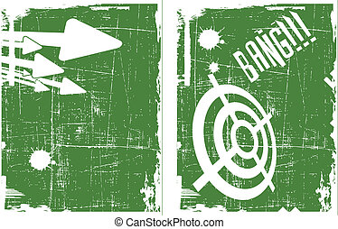 the abstract vector target on grunge background set