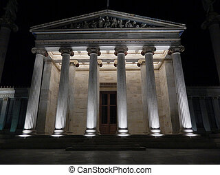 The Academy of Athens at night