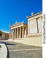 The Academy of Athens. Attica, Greece. - Principal facade of...