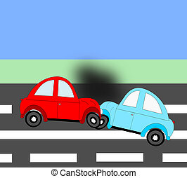 The accident, car accident two cars on the freeway