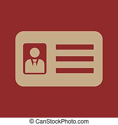 The accreditation icon. Admission and badge, identification, pass, drivers license symbol. Flat