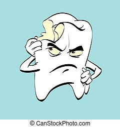 The aching tooth with caries, a comic book character