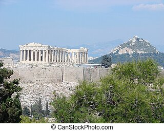The Acropolis - A view of the Acropolis from the Philopappou...
