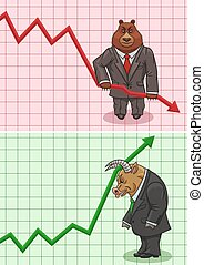 The actions of bear and bull on the stock exchange.