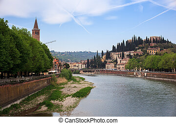 The Adige river, Verona - View of Castel San Pietro and the ...