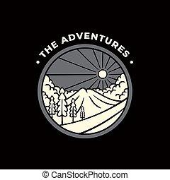 the adventures illustration on black background