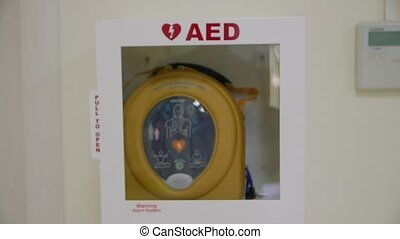 The AED defibrillator slow motion camera movement