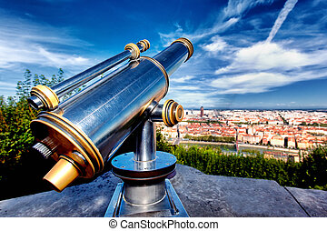The aerial view at Lyon from Fourviere Basilica hill. France