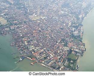 The aerial view of Penang city