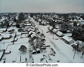 The aerial view of residential area after a snowstorm near Wilmington, Delaware, U.S.A