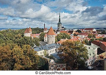 The Aerial View of Tallinn Old Town, Estonia