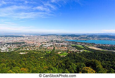 The aerial view of Zurich City from the top of Mount...