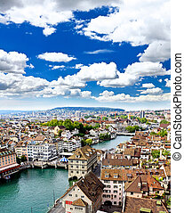 the aerial view of Zurich city