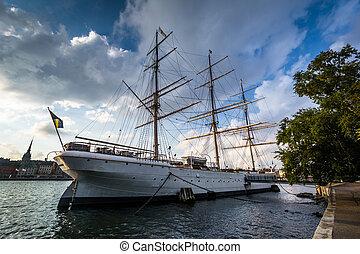 The af Chapman ship, moored at Skeppsholmen, in Stockholm, Sweden.