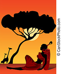 The African motive on a background