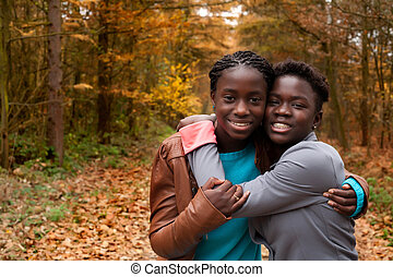 The african sisters - Happy foster children in the forest...