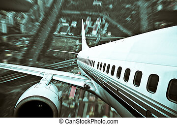 the airplane away from the city, abstract background