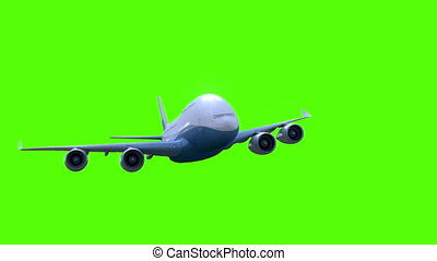 The airplane flies on green