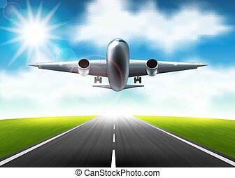 The airplane flying over the runway