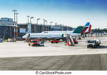 The airport of Hamburg with planes in Germany