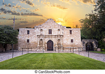 Exterior view of the historic Alamo shortly after sunrise