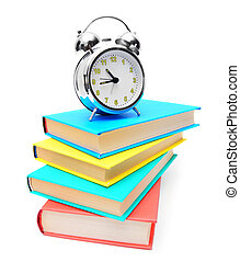 The alarm clock and books . - alarm clock and books .
