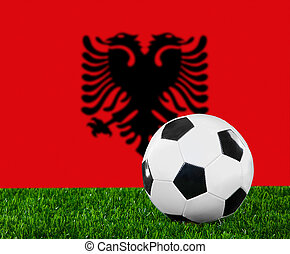 The Albanian flag and soccer ball on the green grass.