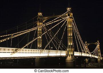The albert Bridge at night in London.