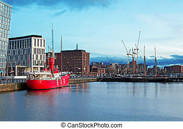 The Albert Dock complex in Liverpool at dusk