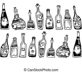 the alcohol in bottle - image of strong waters is black...