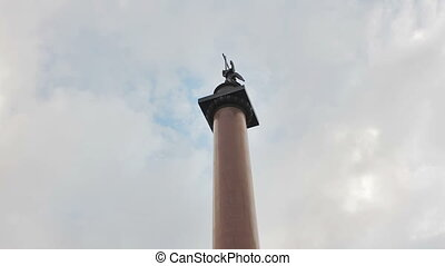 The Alexander Column also known as Alexandrian Column, is the focal point of Palace Square in Saint Petersburg, Russia