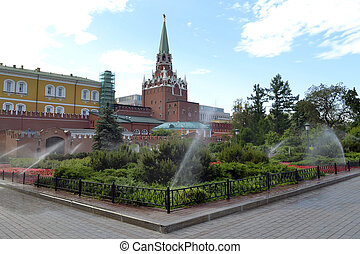 The Alexander Garden at walls of the Moscow Kremlin in the summer.