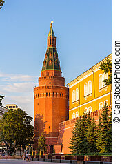 The Alexander Garden under Kremlin walls in Moscow