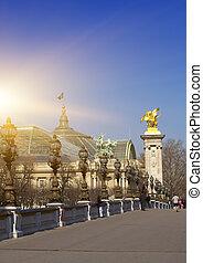 Alexander III Bridge across Seine river in Paris