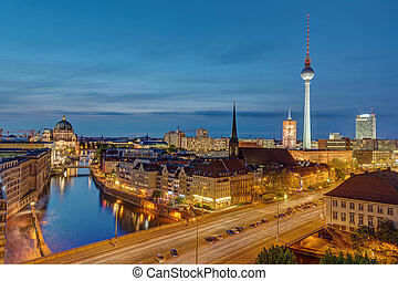 The Alexanderplatz in Berlin at night