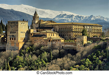 Alhambra of Granada - The Alhambra of Granada in Spain with...
