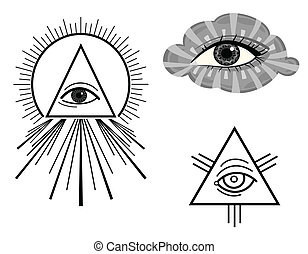 The All Seeing Eye - The Eye of Providence - symbols. Vector...
