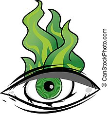 The All Seeing Eye - Green Firey Flame Illuminati Freemasonry Vector