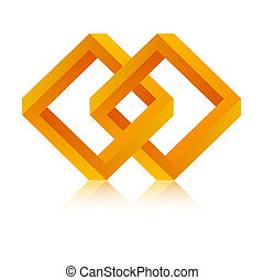 The isolated orange abstract infinity graphic element