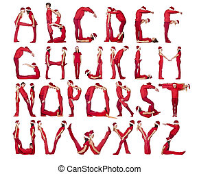 The Alphabet formed by humans. - Group of red dressed people...