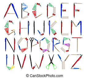 The Alphabet formed by office supplies - Office supplies...