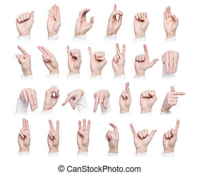 The Alphabet formed by sign language - Hands forming the...