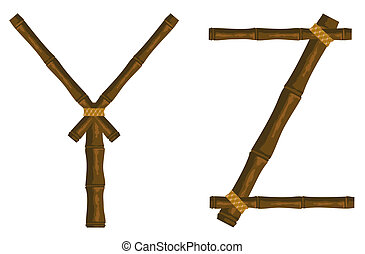 The alphabet from bamboo sticks connected by a band