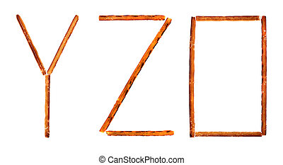 The alphabet from salty sticks