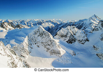 The Alps - Beautiful view over mountains in the Swiss Alps....