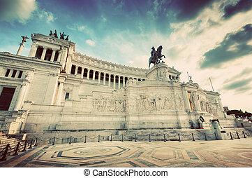 The Altare della Patria monument in Rome, Italy. Vintage - ...