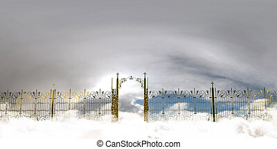 the amazing heaven gate - 3d illustration of the amazing...